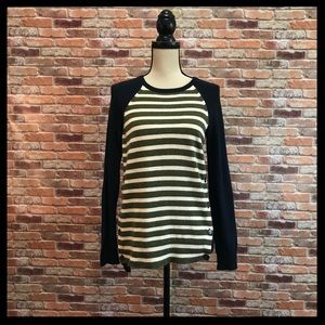 J. Crew Striped Side Button Sweater